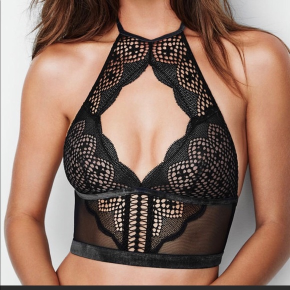 62b1a3bb6f4df Very Sexy Lace Mesh High Neck Halter Bralette. NWT. Victoria s Secret